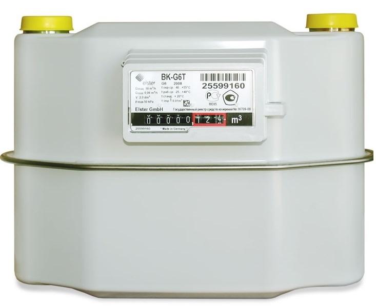 Счетчик газа бытовой с термокоррекцией ВК G6Т правый 2020 г.